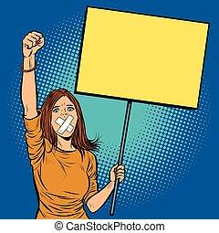 donna, protests, lei, libertà, bocca, bavaglio, discorso