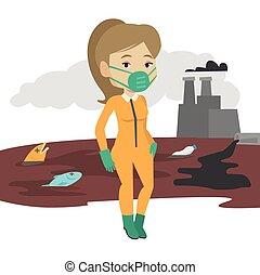 donna, protettivo, radiazione, suit.