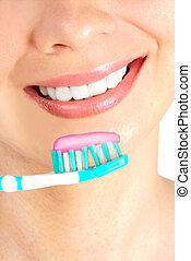 donna, pulizia, denti