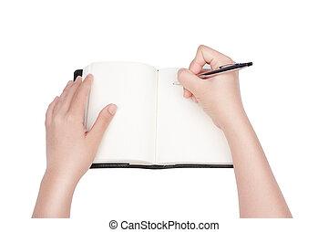 donna, quaderno, scrittura