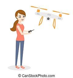 donna, quadrocopter, drone., giovane, illustrazione, aria, vettore, o, felice