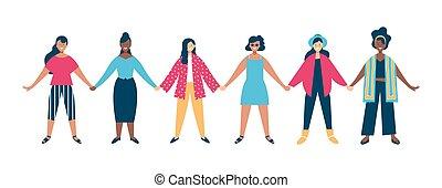 donna, raggruppare insieme, concetto, tenere mani, diverso