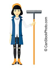 donna, rake., standing