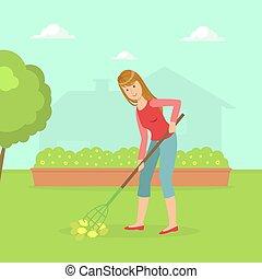 donna, rastrello, giardino, lavorativo, attrezzo, illustrazione, vettore, casalinga, cortile posteriore, giardinaggio, pulizia