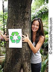 donna, recycling:, segno, foresta, presa a terra, riciclare