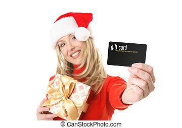 donna, regalo, ecc, scheda, credito, presa a terra, scheda