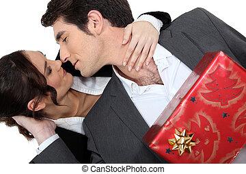 donna, regalo, offerta, lei, natale, marito