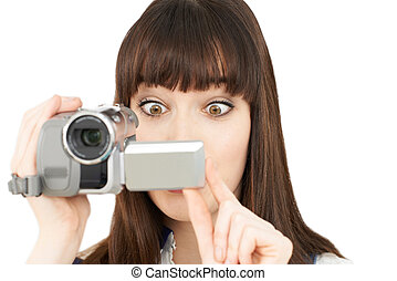 donna, registrazione, su, portatile, macchina fotografica...