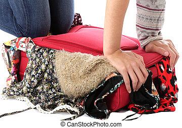 donna, released., giovane, imballaggio, valigia, modello, rosso