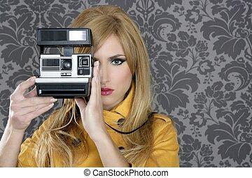 donna, reporter, fotografo, moda, retro, macchina fotografica