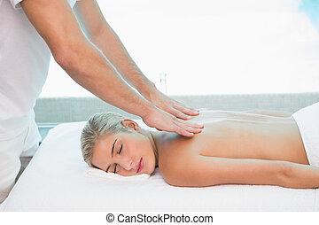 donna, ricevimento, massaggio, indietro