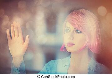 donna, riflessione, giovane
