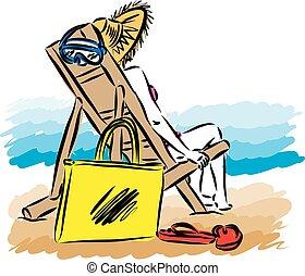 donna rilassa, vacanza, illustrazione, vettore, spiaggia