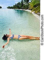 donna, rilassare, durante, viaggiare, vacanza, su, isola tropicale