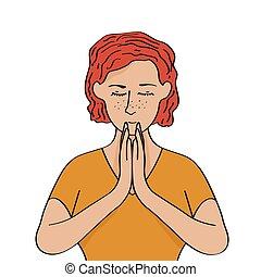 donna, rilassato, meditare, isolato, fondo, caucasian bianco