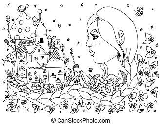 donna, ritratto, ragazza, anti, white., libro, vettore, fiori, illustrazione, zentangl, lungo, dudlart., castello, nero, treccia, coloritura, adults., camomile, torre, dall'aspetto, city., stress