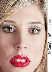 donna, rossetto, giovane, labbra, ritratto, rosso