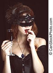 donna, rosso, maschera, vampiro, vetro, blood.