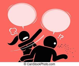 donna, rude, essendo, insulting., arrabbiato, schiaffeggiare, uomo