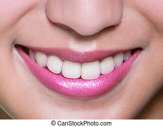 donna sana, denti, e, smile., isol