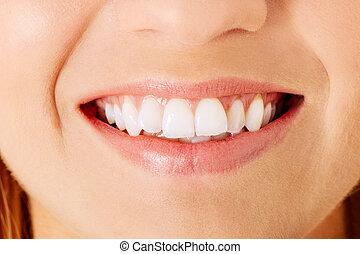 donna sana, denti, e, smile., isolato, sopra, white.