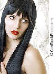donna, sano, capelli lunghi, nero, lussureggiante