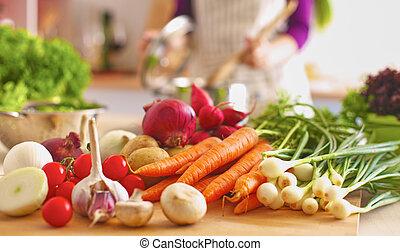 donna, sano, cottura, giovane, kitchen., cibo