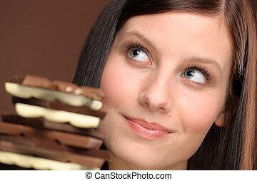 donna, sano, -, giovane, cioccolato, ritratto