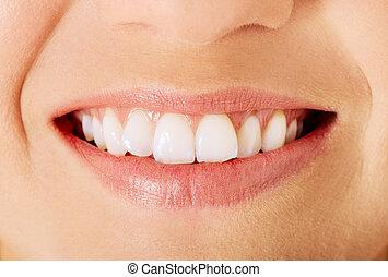 donna, sano, sopra, isolato, bianco, denti, sorriso