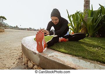donna, sano, warming, giovane, musulmano, fuori, su