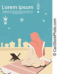 donna, santo, pregare, moschea musulmana, ramadan, mese, corano, religione, kareem