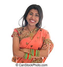 donna, sari, vestire, indiano