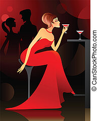 donna, sbarra, detenere, cocktail