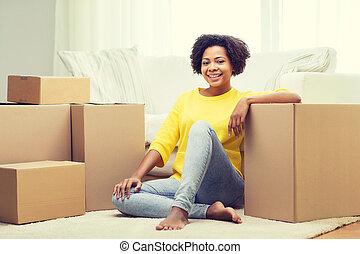 donna, scatole, africano, casa, cartone, felice