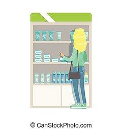 donna, scegliere, droghe, clienti, scene, farmacia, cosmetica, set, biondo, parte, farmacia, farmacisti, acquisto