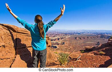 donna, scenico trascura, cielo, canyonlands', isola, gode