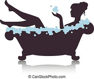 donna, schiuma, bagno