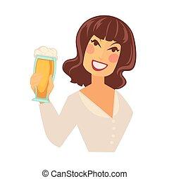 donna, schiuma, isolato, vetro, birra, presa a terra, bianco