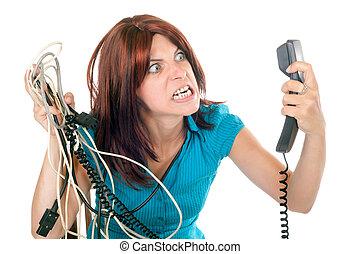 donna, scombussolare, contro, tecnologia