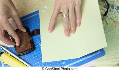 donna, scrapbooking, regalo, cartolina, mani, fabbricazione,...