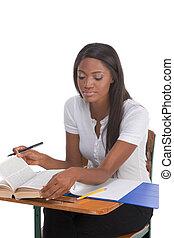donna, scrivania, americano, studente università, africano