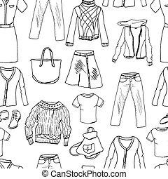 donna, seamless, clothes., modello, set, bianco, casuale