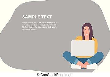 donna sedendo, attraversato, laptop, persone, carattere, disegno, pavimento, sagoma, usando, gambe, bandiera, cartone animato