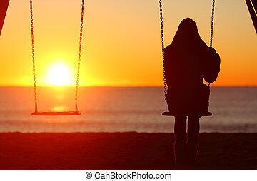 donna sedendo, contemplare, singolo, tramonto, altalena