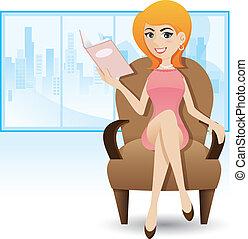 donna sedendo, divano, rivista, lettura, cartone animato,...