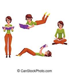 donna sedendo, giovane ragazza, carino, posizione, lettura, standing, dire bugie
