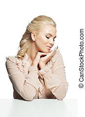 donna sedendo, isolato, attraente, fondo, tavola, bianco
