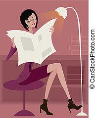 donna sedendo, lampada, pieno-lunghezza, giornale, lettura