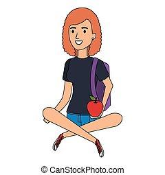 donna sedendo, pavimento, carattere, avatar, studente