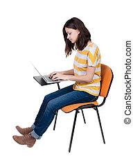 donna sedendo, studio, laptop., sedia, vista laterale